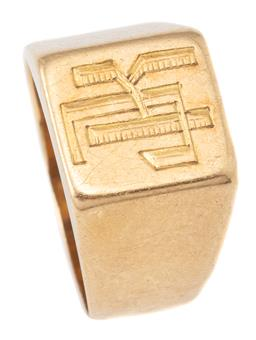 Sale 9124 - Lot 310 - AN 18CT GOLD SIGNET RING; 10 x 10mm top with engraved monogram JK, size I, wt. 5.15g.