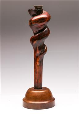 Sale 9131 - Lot 71 - Turned timber candle stick (H:37.5cm)