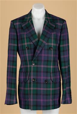 Sale 9250F - Lot 43 - A Bally Switzerland double breasted tartan blazer, size 48