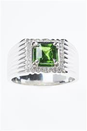 Sale 8299J - Lot 382 - AN 18CT WHITE GOLD GEMSET RING; centring a square radiant cut demantoid garnet to surround of 32 round brilliant cut diamonds on wid...