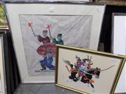 Sale 8437 - Lot 2054 - Pair of Oriental Artworks