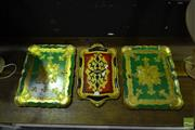 Sale 8520 - Lot 1076 - Set of 3 Gilt Hand Painted Italian Serving Trays
