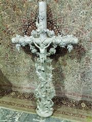 Sale 8617 - Lot 1080A - Large Silver Painted Cast Iron Crucifix, overgrown by roses, bulrush & climbing grape vines