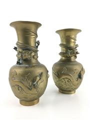 Sale 8545N - Lot 108 - Pair of Chinese Brass Dragon Vases (H: 34cm)