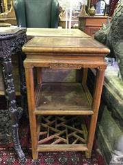 Sale 8559 - Lot 1085A - Chinese Rosewood Square Side table, carved with bats to apron, with two solid shelves & lower latticed tier