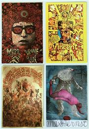 Sale 8643A - Lot 5018 - Martin Sharp (1942 - 2013) - Postcards: Legalise Cannabis; Mr Tambourine Man; Vincent; Max Ernst 10.5 x 15cm