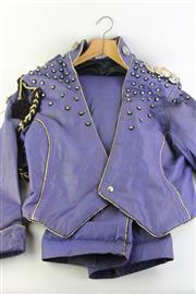 Sale 8802 - Lot 234 - Vintage Two Piece Leather and Rhinestone David Rockford Suit