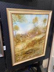 Sale 8932 - Lot 2028 - Janet Price - Dry Country oil on board, 69 x 53cm (frame), signed