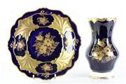 Sale 8972 - Lot 85 - A floral themed German Echt Weimar Cobalt blue vase (H26cm) together with a  Jutta plate (Doa32cm)
