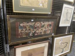 Sale 9113 - Lot 2045 - An early Chinese gouache painting depicting deities , 35 x 73cm (frame)