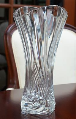 Sale 9155H - Lot 53 - A ribbed glass vase. Height 26cm