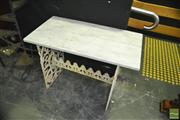 Sale 8337 - Lot 1002 - Marble Top Table on Cast Iron Stretcher Base