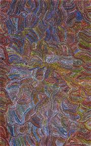 Sale 8394 - Lot 521 - Joy Pitjara (Petyarre) (1962 - ) - Bush Yam Seeds 148 x 94cm