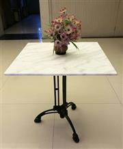 Sale 8402B - Lot 87 - French Style Table with White Marble Top on Cast Iron Base, 70 x 70cm