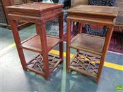 Sale 8559 - Lot 1085 - Chinese Elm Square Side table, with two solid shelves & lower latticed tier