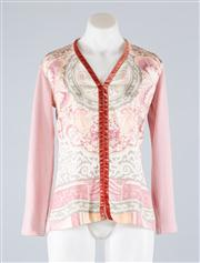 Sale 8685F - Lot 58 - An Etro Italian made v-neck knit blouse with a (presumed) printed silk front and a velvet trim