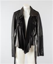 Sale 8760F - Lot 23 - A Whistles black leather jacket with suede lapels, size medium