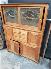Sale 8744 - Lot 1007 - Kitchen Dresser with Leadlight Doors