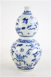 Sale 8840 - Lot 53 - A Blue and White Chinese Gourd Shaped Vase (H 24cm)
