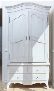 Sale 8866H - Lot 34 - A contemporary shabby chic, ivory painted armoire with two cupboard doors above two short and one long drawer, Height 210cm, Width 10..