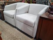Sale 8863 - Lot 1082 - Pair of Modern Fabric Tub Chairs