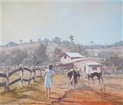 Sale 8947 - Lot 579 - David Leonard Hagan (1943 - ) - Brining in the Last Two Cows 50 x 60 cm (frame: 63 x 73 x 5 cm)