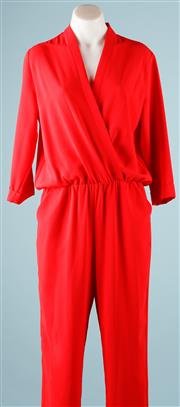 Sale 9090F - Lot 2 - AN AMANDA UPRICHARD JUMPSUIT; three quarter sleeves, elasticised waist, two side pockets, size S, 100% polyester