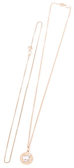 Sale 9149 - Lot 305 - A RUSSIAN 14CT GOLD PENDANT NECKLACE AND A CHAIN; twin curb chain attached with a 15mm round Aries zodiac disc pendant to bolt ring...