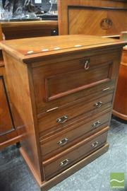 Sale 8317 - Lot 1044 - Unusual Late Victorian Walnut Chest, with drop-front top and three drawers, on plinth base