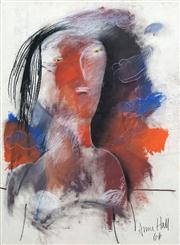 Sale 8410A - Lot 5034 - Anne Hall (1945 - ) - Untitled, 1966 (Male Model with blue and red background) 76.5 x 56cm (sheet size)