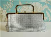 Sale 8448A - Lot 20 - Vintage Parklane white mesh clutch/handbag featuring goldtone metal frame and handles Condition: Good, some gold fading/pitting &...