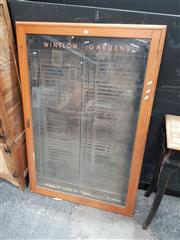 Sale 8680 - Lot 1010 - Vintage Glass Front Notice Board