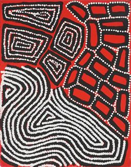 Sale 8960J - Lot 97 - Warlimpirrnga, Walala & Thomas Tjapaltjarri (c1958, c1960, c1964) - Tingari 51 x 40 cm (stretched and ready to hang)
