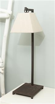 Sale 8904H - Lot 28 - A pair of rustic effect bedside lamps. Total Height 75cm