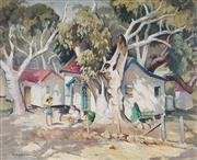 Sale 9013 - Lot 583 - John Roy Eldershaw (1892 - 1973) - Talking in the Backyard 44.5 x 54.5 cm (frame: 59 x 69 x 5 cm)