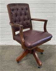 Sale 9063 - Lot 1088 - Timber Framed Captains Chair with Leather Upholstery (h:98 x w:59 x d:49cm)