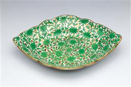 Sale 9093P - Lot 69 - Early C19th English Lozenge Dish in Green and Gold, L. 26cm.