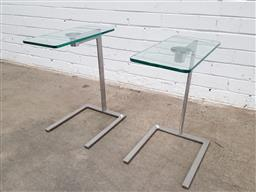 Sale 9129 - Lot 1029 - Pair of modern metal glass top side tables (h50 x w40 x d31cm)