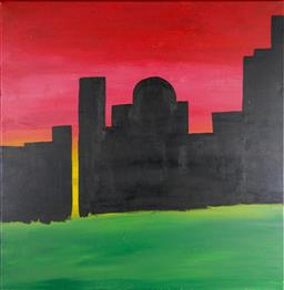 Sale 9137A - Lot 5037 - Helen Fleming - Middle Eastern Silhouette Skyline 60 x 60 cm