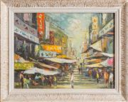 Sale 8375A - Lot 28 - Artist Unknown - Hong Kong Market Scene 29 x 39 cm