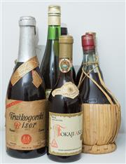 Sale 8486A - Lot 69 - A group of 7 x bottles of mainly wine including; Tokajiaszu, Chianti, Fleur de Lis 1989 Pinot Noir Chardonnay Brut