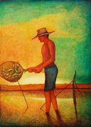 Sale 8606 - Lot 553 - Bob Marchant (1938 - ) - Catching Yabbies 101.5 x 76cm