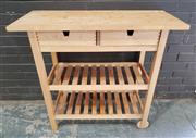 Sale 8959 - Lot 1090 - Timber Kitchen Island with Two Drawers (H:100 x W:90 x D:33cm)