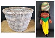 Sale 8979 - Lot 1096 - Wicker Basket Together & Rasta Banana (Basket - H:38 x D:50cm)