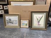 Sale 9072 - Lot 2084 - Group of (3) Australian School Paintings: W Wilson Sunday Afternoon on the Jetty; G Morey Pyrmont watercolour, E Fisher Still Li...