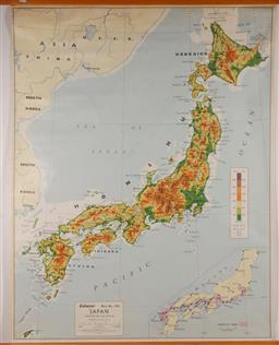 Sale 9131 - Lot 12 - A vintage school map of Japan