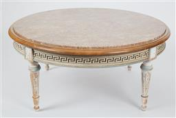 Sale 9123J - Lot 80 - A mid century circular pink and grey marble coffee table inset to a French blue painted beech wood base C: 1960. The carved Greek ke...