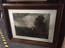 Sale 9139 - Lot 2032 - Artist Unknown Through the Lock decorative print, frame: 95 x 122 cm -