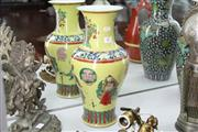 Sale 8348 - Lot 83 - Chinese Yellow Vase with Polychrome Figures - Height 44cm