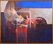 Sale 8408 - Lot 532 - Mel Brigg (1950 - ) - Lioness on Kill 150 x 182cm